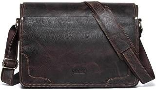 DNSJB Men's Crazy Horse Leather Briefcase Casual Tote Crossbody Shoulder Messenger Bag Handbag Brown for 13inch Netbook Tablet