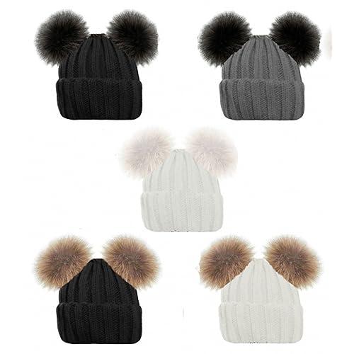 736512d91b24ce Ladies Gorgeous Ribbed Beanie HAT Double Faux Fur POM POM Bear Cute 5  Colours