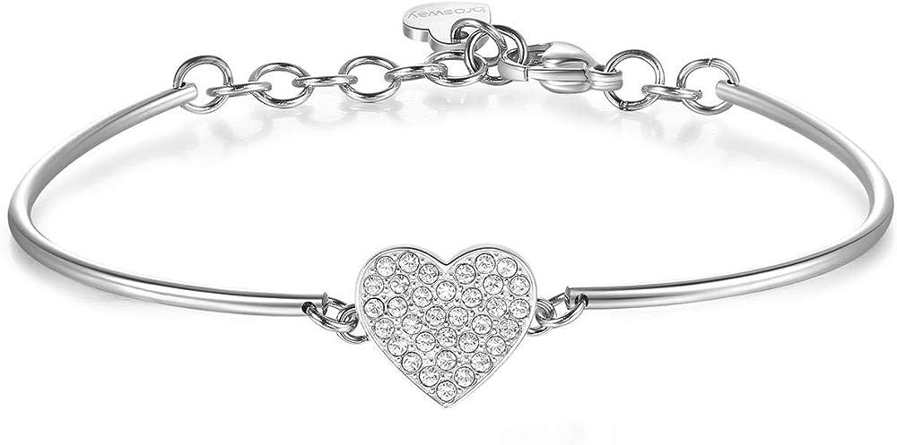 Brosway jewels bracciale per donna chakra  pavè acciaio 316l con cuore con cristalli swarovski BHK370