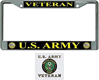 US Army Veteran License Plate Frame Gift Bundle with Army Veteran Decal (Army Crest)