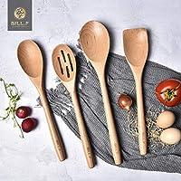 Set di utensili da cucina in legno di faggio, 4 pezzi, cucchiaio e spatola, mix perfetto per pentole e padelle antiaderenti