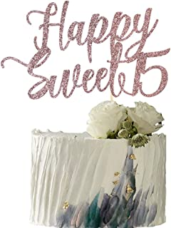 YUINYO Happy Sweet 15 Cake Topper -Cheers to 15 Year - Happy 15th Birthday Cake Topper- Sweet Fifteen /15th Wedding Annive...