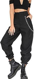 Le Donne Pantaloni Harem Casual Solido Sciolto Pantaloni alla Caviglia con Catena