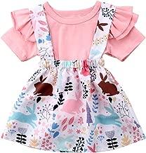 Toddler Baby Girls Clothes Summer Cute Ruffle Sleeve T-Shirt Tops+ Rabbit Bunny Overall Strap Skirt Set