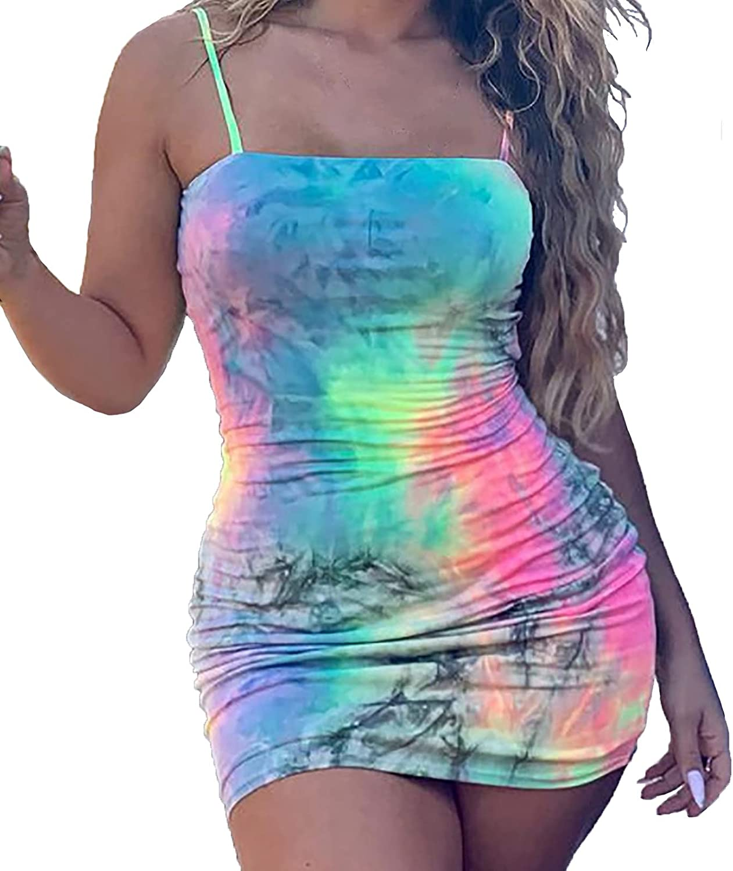 ESULOMP Women Sexy Bodycon Club Mini Dress Y2K Tie Dye Sleeveless Sling Backless Skirt Fashion Sheath Tight Slim Dress
