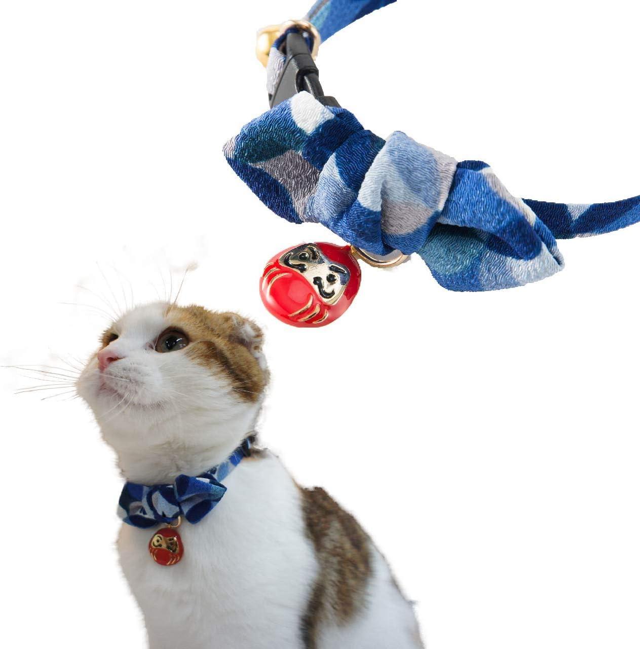NECOICHI Direct store Daruma Charm Bow Blue 67% OFF of fixed price Collar Tie Cat