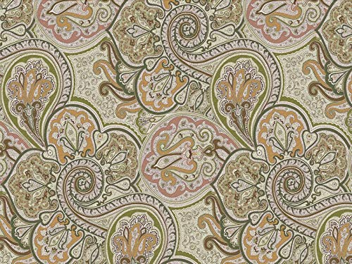 Venesto Gardinenstoff Organza Ornamente Paisley Muster grün hochwertiger Stoff als Meterware Halbtransparent