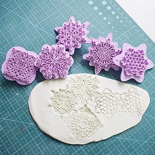 MinLia Mandala Lace Pattern Embossing Die Plastic Stamp Polymer Clay Sculpture Texture Stamp Clay Tool 5pcs/set Mandala Dotting Tools
