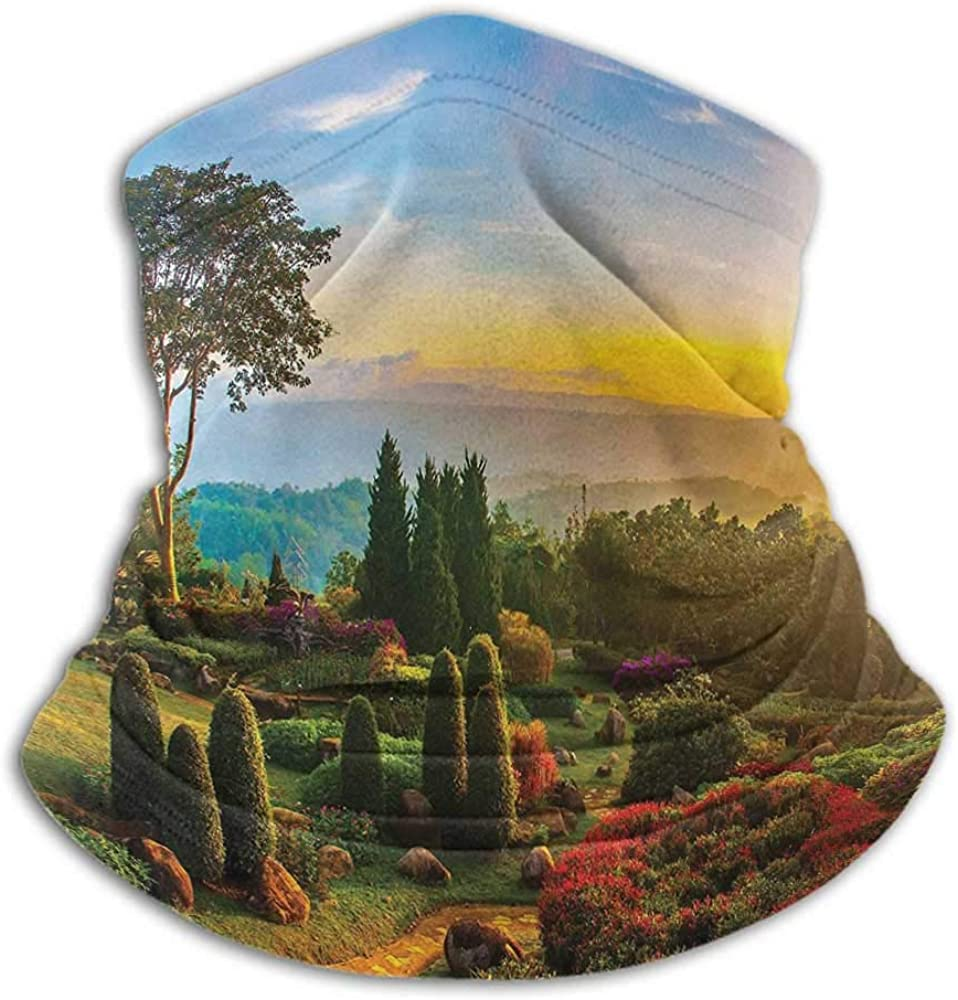 Neck Gaiters For Men Garden Neck Gaiter Sunblock Face Scarf Fresh Forest with Colorful Flowers on Hill with Sunrise in Morning Idyllic Scenery Multicolor