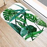 OPLJ Alfombrilla de Suelo con patrón Monstera de Cactus de Hoja de Palma Tropical, Alfombrilla de Puerta de Entrada Interior, Alfombra Antideslizante para baño y Cocina A13 40x60cm