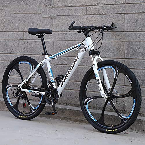 XQY Mountain Speed Bike 24 Inch High Carbon Steel 21 Speed Gear Leisure Double Disc Brake Off-Road Vehicle Road Bike,Blue
