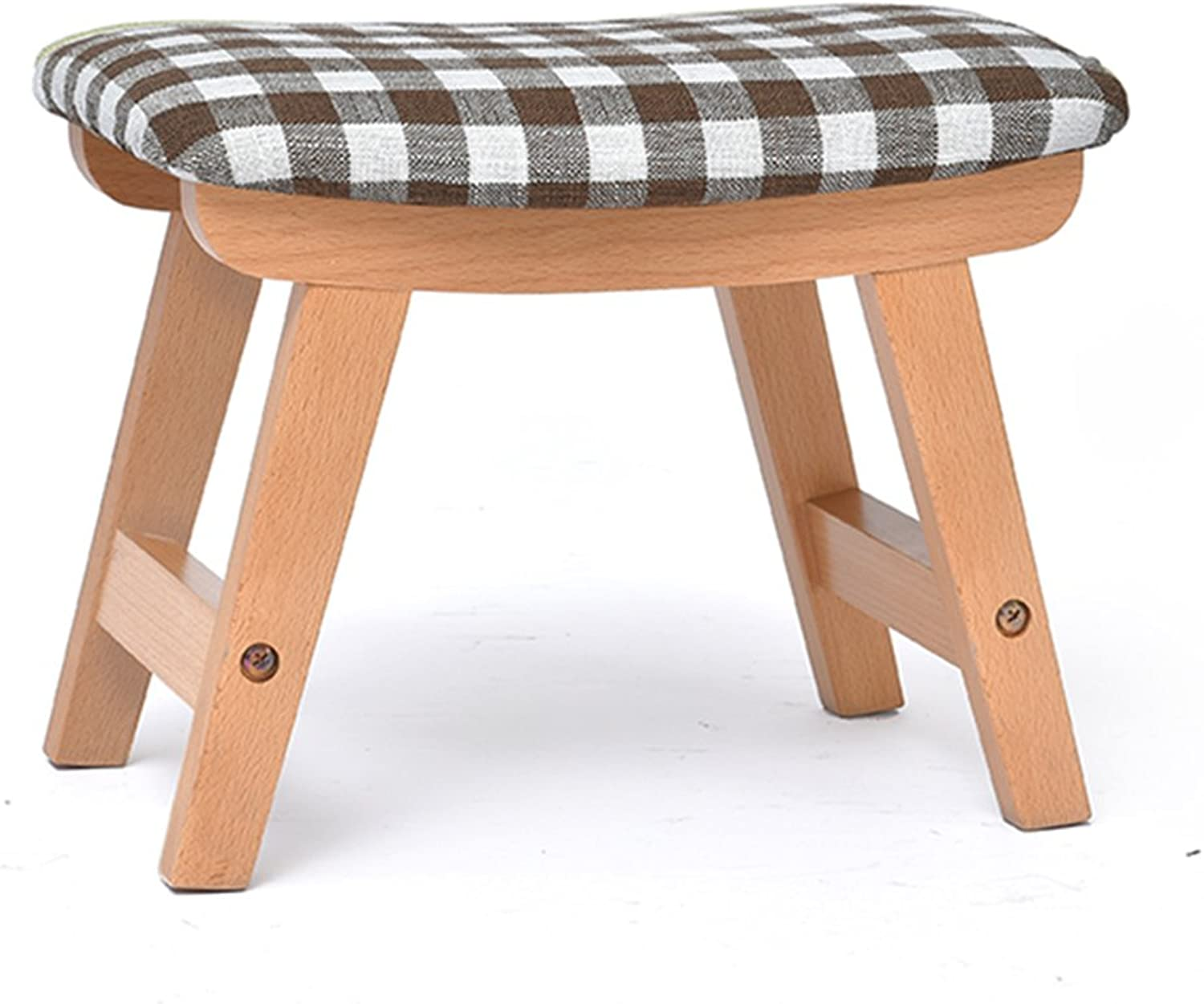 GWDJ Solid Wood Creative Footstool Living Room Sofa Coffee Table Stool Household Bench Doorway Cloth Change shoes Stool (8 colors Optional) Reinforced Footrest (color   B)