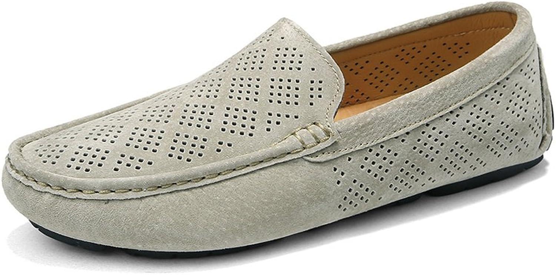 Ruiyue Müßiggänger Schuhe, Atmungsaktive Perforation Echtes Leder Oberes Stiefel Mokassins Mokassins Mokassins Driving Penny Müßiggänger Für Männer (Farbe   Khaki, Größe   38 EU)  122c6e