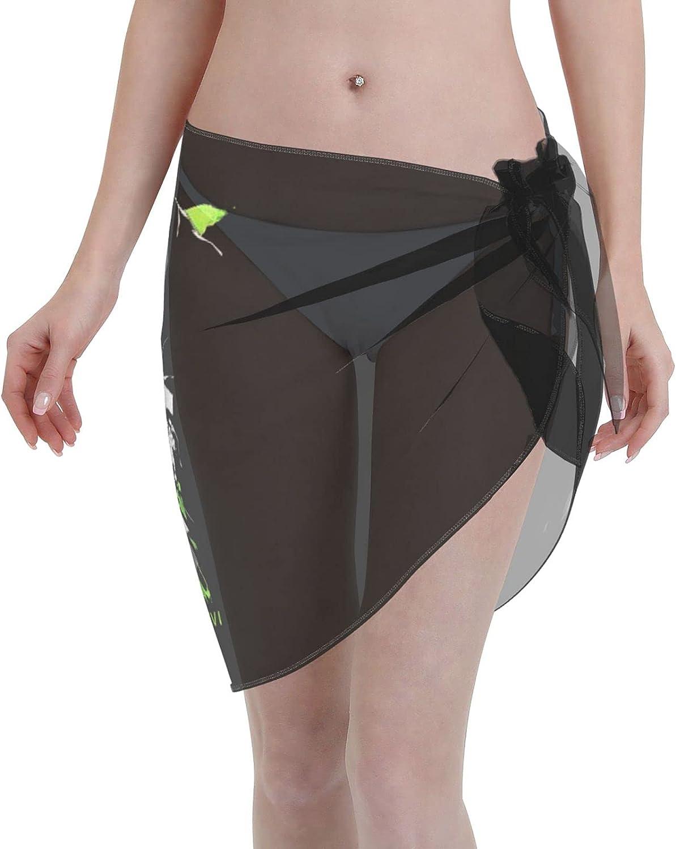 Anime Attack on Titan Women Short Sarongs Beach Wrap Sheer Bikini Wraps Chiffon Cover Ups for Swimwear (5519in) Black