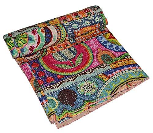 V Vedant Designs Indian Handmade Vintage Cotton Kantha Quilt Throw Blanket Gudari (Multi, Twin)