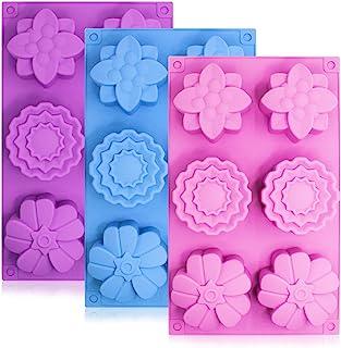 Moules de gâteau de fleur de silicone de 3 morceaux, SENHAI 6-Cavity Muffin Jelly Tart Pain Moules de pâtisserie de Desser...