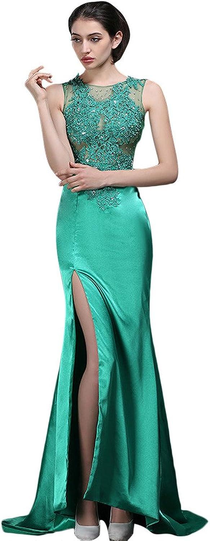 BessWedding Women's Elegant Long Green Lace Wedding Evening Dresses with Split