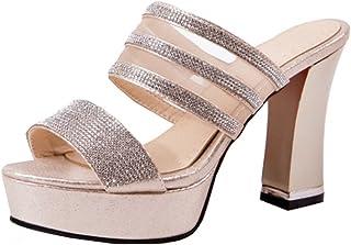 88b365e9d3738 IDIFU Women s Unique Rhinestones High Block Heels Platform Mules Sandals