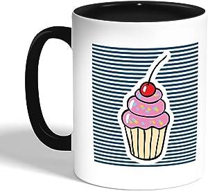 كوب سيراميك للقهوة، لون ازرق، بتصميم ايس كريم
