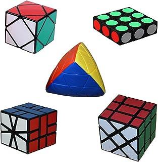 MSZtech Magic Cube Juego de 5 Pack Incluye 1x3x3 + Cuadrado 1 + Skewb + Mastermorphix + Fisher Cube