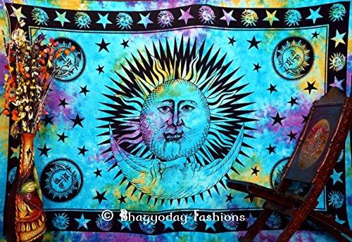 bhagyodayfashions Sun Moon Tapisserie Tapisserie, indisches Mandala, Sterne zum Aufhängen, Tie Dye, Twin Betten Wohnheim Tagesdecke, Hippie Wandteppiche, Boho Tapisserie Überwurf. indischen Wandteppiche, Wohnheim Dekorative Tischdecke 137,2x 218,4cm.