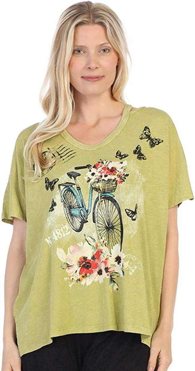 Jess & Jane Women's Maybe Mineral Washed Cotton Cold Shoulder High Low Tunic Top