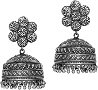 Jaipur Mart Handmade Oxidised German Plating Jhumka Earrings For Women And Girls