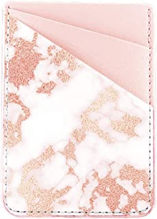 Obbii Rose Gold Marble Pink PU Leather Card Holder for Back of Phone with 3M Adhesive Stick-on Credit Card Wallet Pockets for iPhone and Android Smartphones