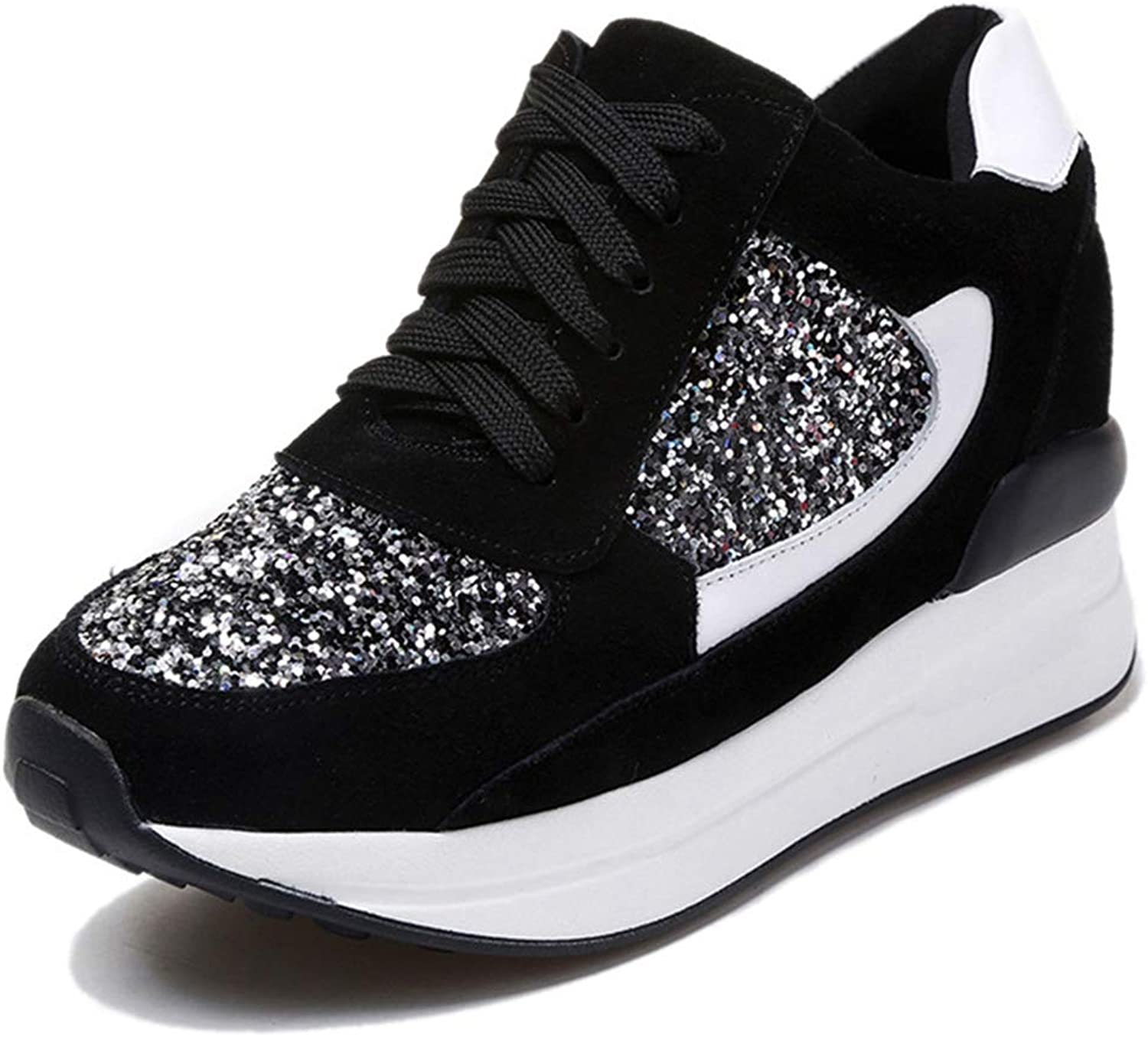 Hoxekle Summer Women Sneakers Platform Wedges shoes Woman Trainers Bling Lace-up Increase Height Black Casual shoes