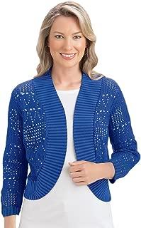 Pointelle Shrug Sweater, Three Quarter Sleeves