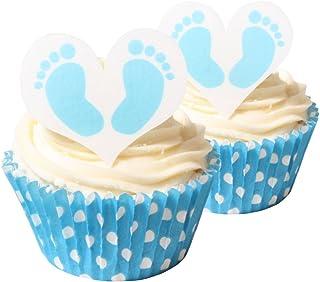 赤ちゃんの足形 男の子 食用ケーキデコレーション12個&ベビーブルー 水玉模様ケース 12枚/12 Baby Boy Feet Edible Cake Decorations & 12 Baby Blue Polka Dot Cases
