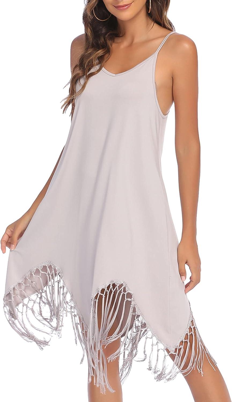 AI'MAGE Women's Swim Cover Ups Swing Dress for Beach Swimwear with Tassel, Summer Casual Sleeveless Sun Dress S-XXL