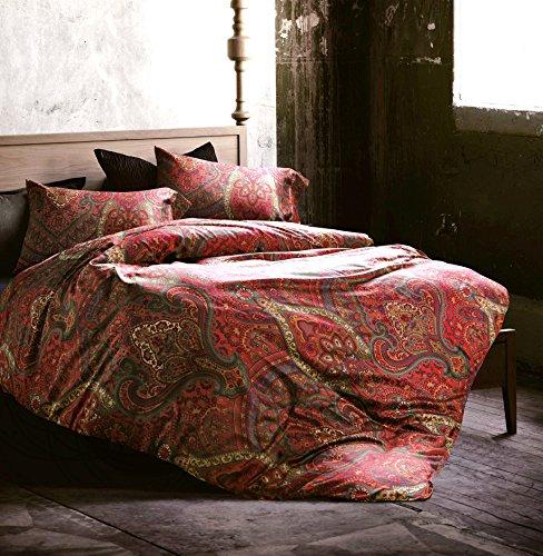 Eikei Boho Paisley Print Luxury Duvet Quilt Cover and Shams 3pc Bedding Set Bohemian Damask Medallion 350TC Egyptian Cotton Sateen (Queen, Spanish Red)