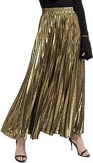 Da Donna Metallico Lucido Look Bagnato Vita Alta Matita Midi Gonna Scintillante Glitter 8 14