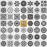 Jhua 48 plantillas reutilizables, plantillas de mandala para manualidades, plantillas de pintura, plantillas de pintura, plantillas de dibujo para paredes de bricolaje, álbum de recortes de arte