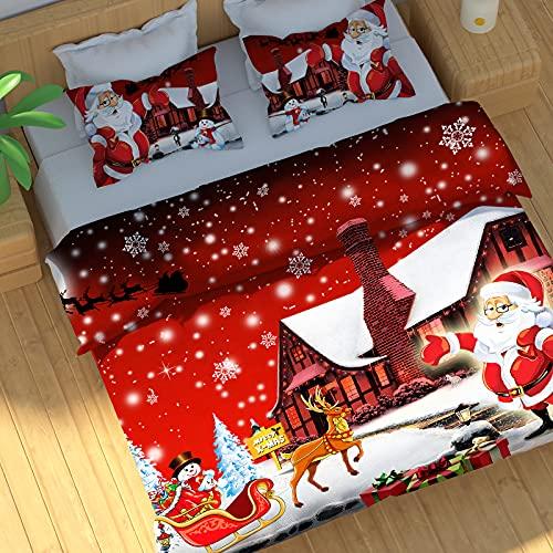 Copripiumini natalizi matrimoniali 220 x 240 cm, Babbo Natale consegna i regali modello copripiumino e 2 Federe 50 x 80 cm