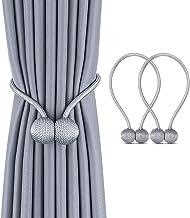 1 Pair Magnetic Curtain Tiebacks,Gugule Decorative Weave Rope Curtain Holdbacks Holder for Small Thin or Sheer Window Drap...