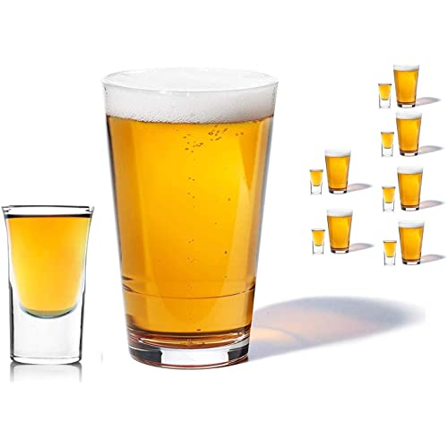 Olivia & Aiden Beer Glass and Whiskey Shot Glasses Set (12-Piece Drinkware) Thick, Heavy-Duty Glass   Classic Party, Boilermaker, Hosting   16 oz. and 1.5 oz. Sizes
