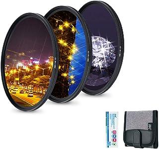 JJC Zestaw filtrów ze szkła optycznego 72 mm ze zmiennymi gwiazdami (4 punkty, 6 punktów i 8 punktów) do Fujifilm Fuji X-T...