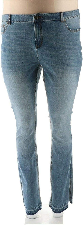Gili Released Hem Side Slit Jeans Light Wash 18W New A297942