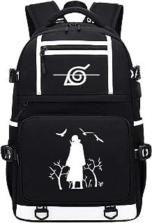 Naruto Mochila Portátil Hombre USB Impermeable del Escolar Trabajo Diario Viaje Negocio Multifuncional Daypacks Mochila De Anime USB De Caracteres 48X30X15CM