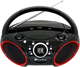 SINGING WOOD Portable CD Player AM FM Radio with Aux Line in, Headphone Jack, Foldable Carrying Handle (Black with a Touch of Red Rims)