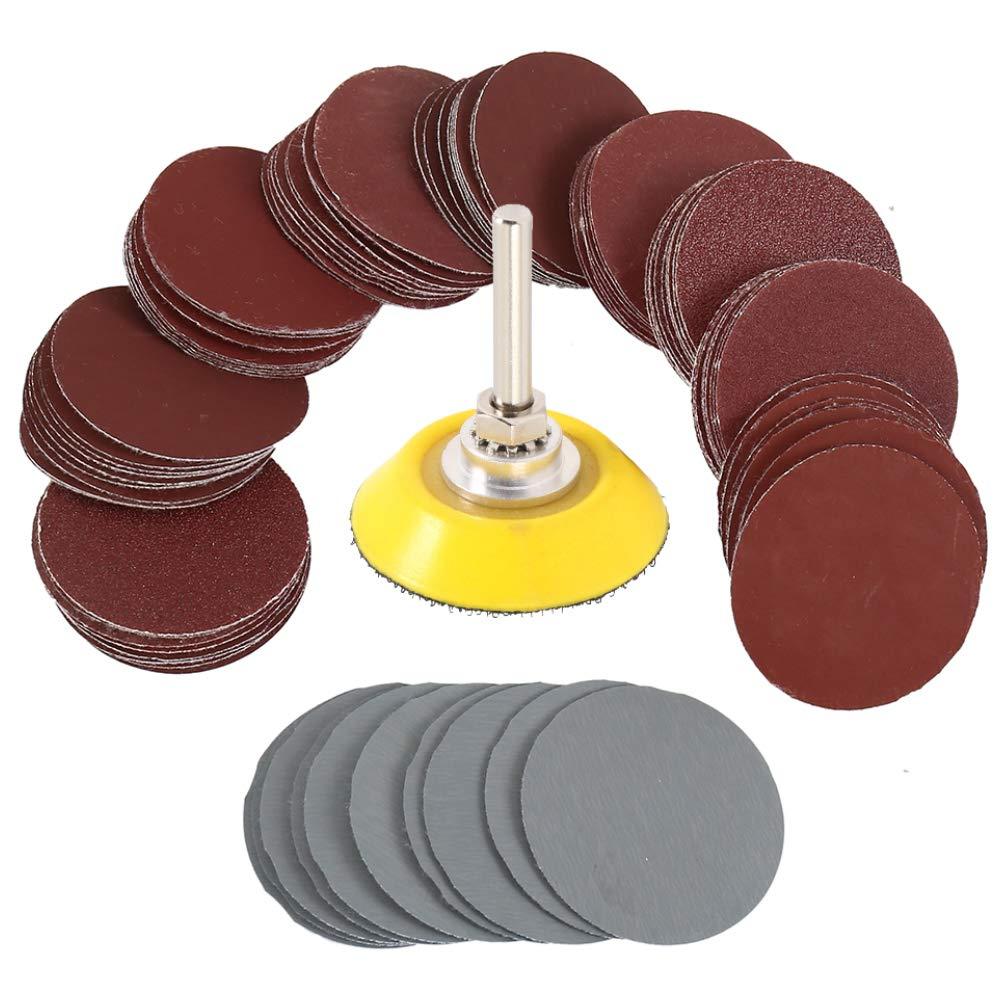 "50mm 1//4/"" Hook /& Loop Sanding Sander Backing Pad 60Pcs 2inch Sandpaper Disc"
