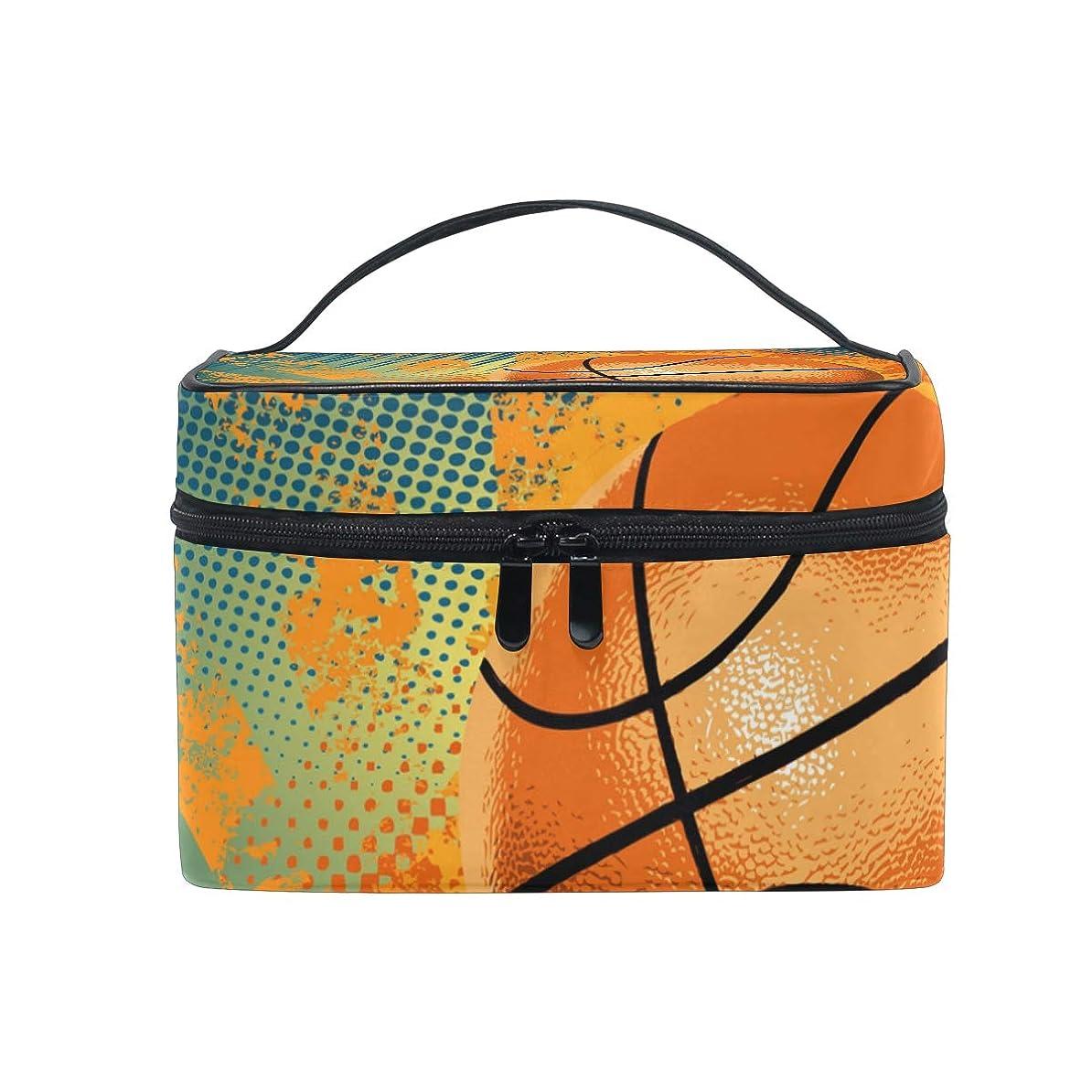 サークル彼七時半アートバスケットボール化粧品 バッグ オーガナイザー ジッパー メイク バッグ ポーチ トイレタリー ケース 女の子 女性用