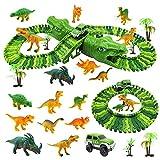 Diealles Shine Pista de Dinosaurios con Dinosaurios Juguetes, 153 Pcs Pista de Carreras de Coches, Regalos Cumpleaños Vías Flexibles Vehículo