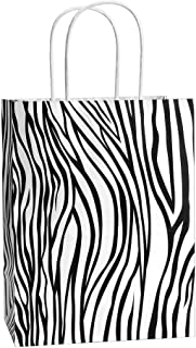 Gift Bags 25Pcs 8x4.75x10.5 Inches BagDream Shopping Bags, Paper Bags, Kraft Bags, Retail Bags, Holiday Party Bags, Zebra Stripe Paper Bags with Handles, Zebra Print Gift Bags