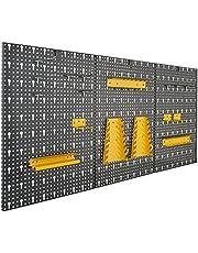 Driedelige gereedschapswand van metaal met 17-delig Hakenset, ca. 120 x 60 x 1,5 cm van Vitaerc rek, perfect wandrek of uitbreiding voor je werkbank