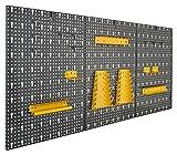 Vitaerc - Panel perforado para herramientas (3 secciones, metal, juego de 17 ganchos, aprox. 120 x 60 x 1,5 cm, estantería, perfecta estantería de pared o ampliación para banco de trabajo