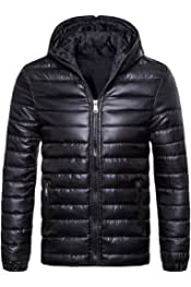 YIhujiuben Mens Thick Loose Fit Quilted Warm Zip Winter Down Jacket Coat