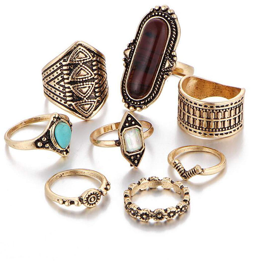 Campsis 8PCS Gold Turquoise Ring Sets Joint Knuckle Rings Flower Mid Ring for Women and Girls